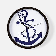 Navy Blue nautical Boat Anchor illustra Wall Clock