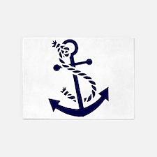 Navy Blue nautical Boat Anchor illu 5'x7'Area Rug