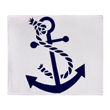 Navy Blue nautical Boat Anchor illus Throw Blanket