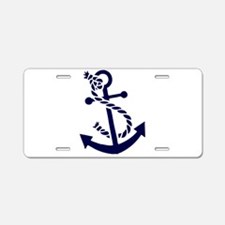Navy Blue nautical Boat Anc Aluminum License Plate