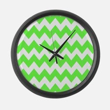 Lime Green Chevron Large Wall Clock