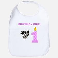 Birthday Girl Raccoon Bib
