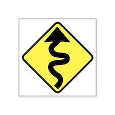 "Curves Ahead Square Sticker 3"" x 3"""