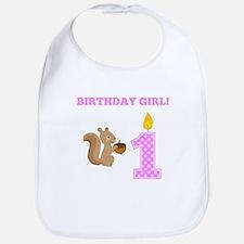 Birthday Girl Squirrel Bib