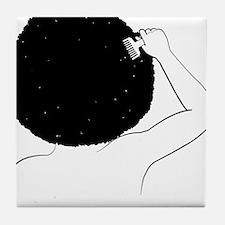 Funny Black hair Tile Coaster