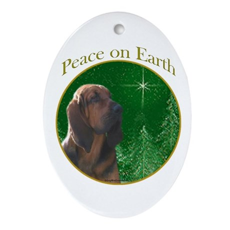 Bloodhound Peace Oval Ornament