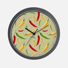 Raining Peppers Wall Clock