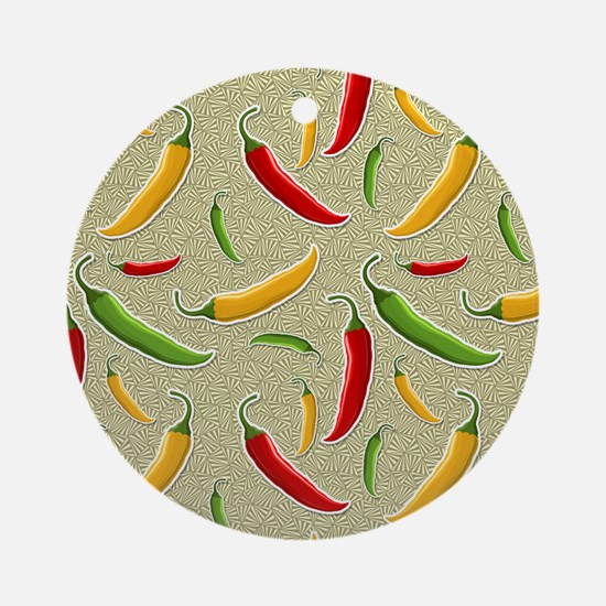 Raining Peppers Ornament (Round)