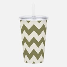 Olive Green and White Acrylic Double-wall Tumbler