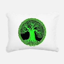 Green Celtic Tree Rectangular Canvas Pillow