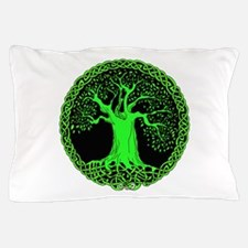 Green Celtic Tree Pillow Case