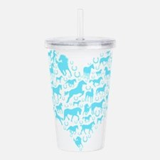 Horse Heart Light Blue Acrylic Double-wall Tumbler
