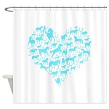 Horse Heart Light Blue Shower Curtain