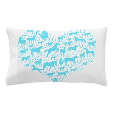 Horse Heart Light Blue Pillow Case