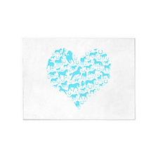 Horse Heart Light Blue 5'x7'Area Rug