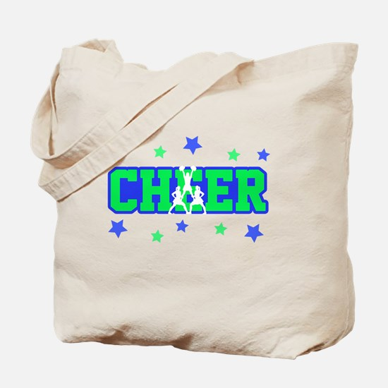 Blue & Green Cheer Silhouette Tote Bag