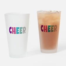 Cheer Rainbow Glitter Drinking Glass