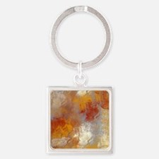 Abstract in Butterscotch, Red, and Square Keychain