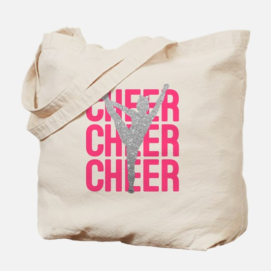 Pink Cheer Glitter Silhouette Tote Bag
