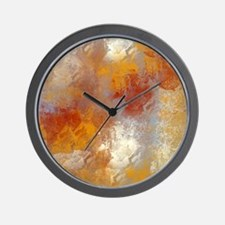 Abstract in Butterscotch, Red, and Gray Wall Clock