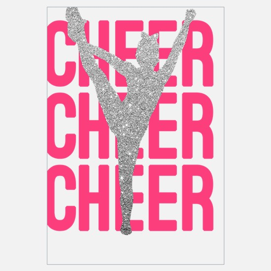 Pink Cheer Glitter Silhouette