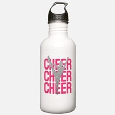 Pink Cheer Glitter Sil Water Bottle