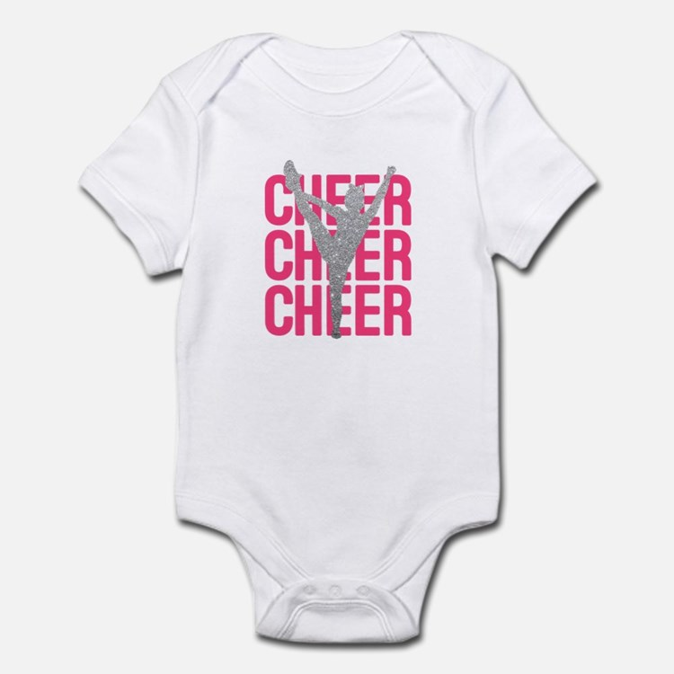 Pink Cheer Glitter Silhouette Body Suit