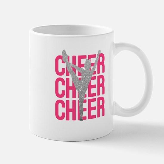 Pink Cheer Glitter Silhouette Mugs