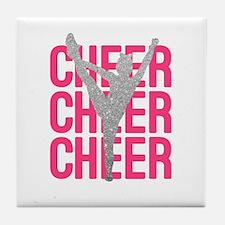 Pink Cheer Glitter Silhouette Tile Coaster