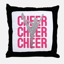 Pink Cheer Glitter Silhouette Throw Pillow
