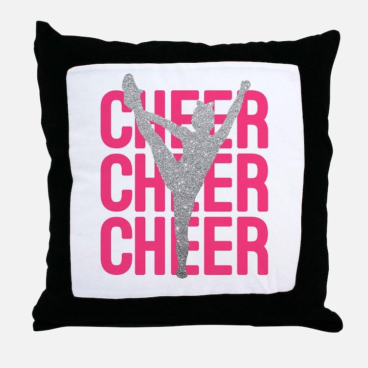 Pink Cheer Glitter Silhouette Throw Pillow