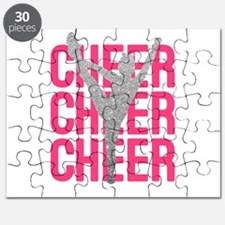 Pink Cheer Glitter Silhouette Puzzle