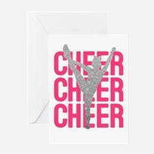 Pink Cheer Glitter Silhouette Greeting Cards