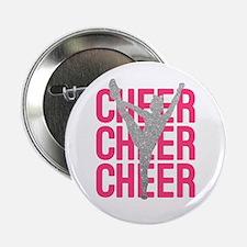"Pink Cheer Glitter Silhouette 2.25"" Button"