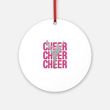 Pink Cheer Glitter Silhouette Ornament (Round)
