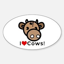 I Love Cows Oval Decal