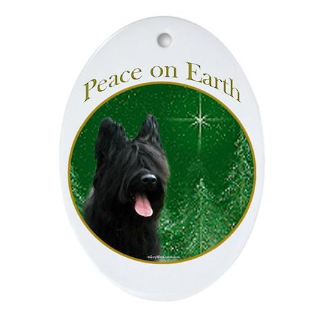 Briard Peace Oval Ornament