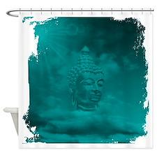 buddha in blue Shower Curtain