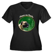 Bullmastiff Peace Women's Plus Size V-Neck Dark T-