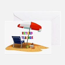 Retired Teacher, Beach Scene Revised Greeting Card