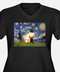 Starry Night Siamese Women's Plus Size V-Neck Dar