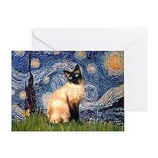 Starry Night Siamese Greeting Card