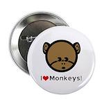 I Love Monkeys Button