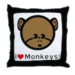 I Love Monkeys Throw Pillow