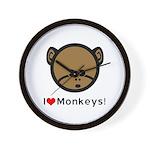 I Love Monkeys Wall Clock