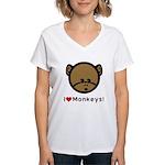 I Love Monkeys Women's V-Neck T-Shirt