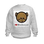 I Love Monkeys Kids Sweatshirt