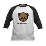 I Love Monkeys Kids Baseball Jersey