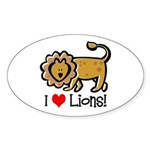 I Love Lions Oval Sticker