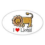 I Love Lions Oval Sticker